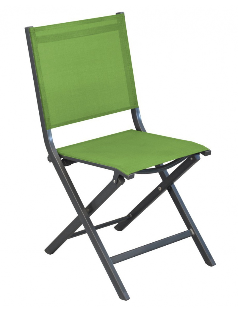 Chaise pliante thema gris vert mousse proloisirs - Leroy merlin chaise pliante ...
