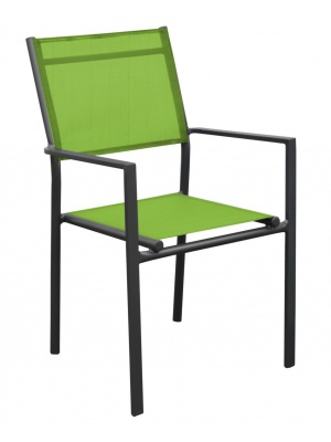 Fauteuil Thema Gris / Vert mousse empilable