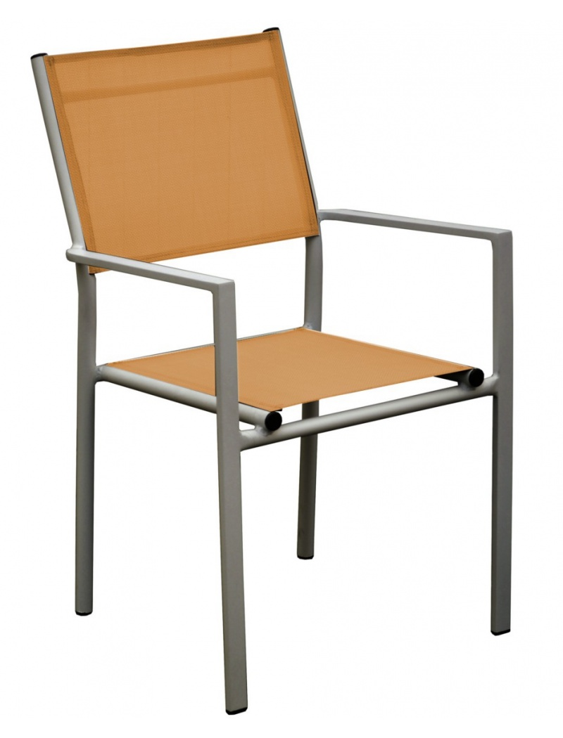 Fauteuil Thema Taupe / Orange empilable