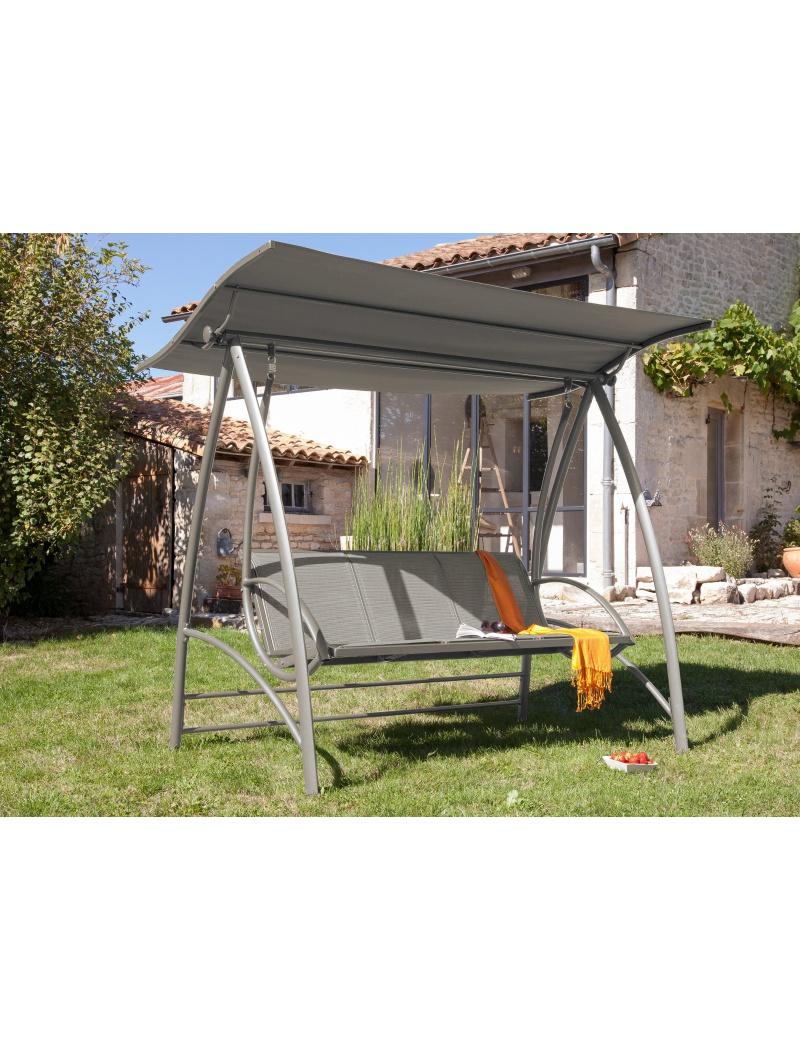 Balancelle Aluminium Taupe avec toit Proloisirs Proloisirs - Hamacs ...