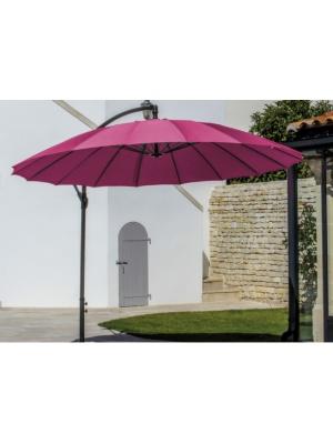 Parasol alu rond déporté 300 Pagode framboise