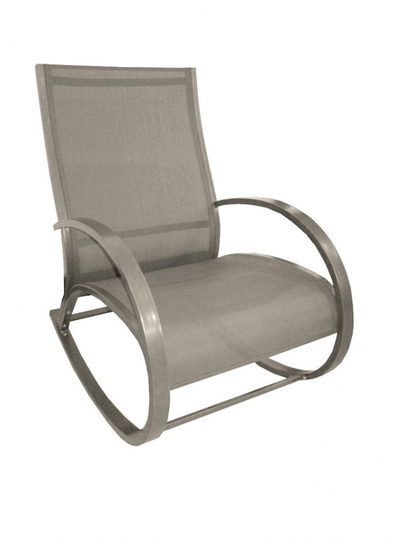 rocking chair aluminium taupe proloisirs relax transats jardin concept. Black Bedroom Furniture Sets. Home Design Ideas
