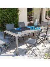 Table Stoneo 180 plateau TRESPA® Gris Bois