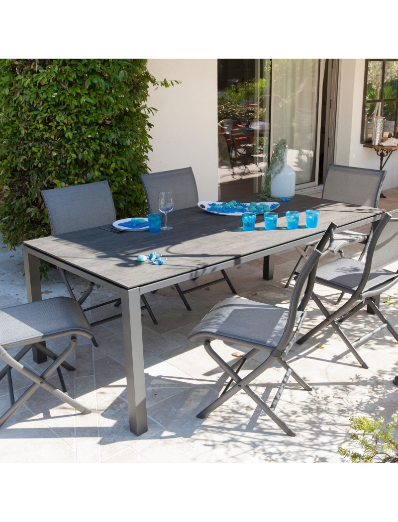 table stoneo 180 plateau trespa gris bois proloisirs tables de jardin en aluminium jardin. Black Bedroom Furniture Sets. Home Design Ideas