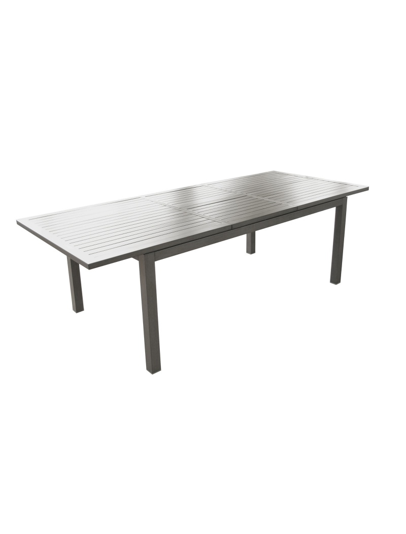 Table Trieste 180/240 Gris Ice avec allonge Proloisirs - Tables de ...