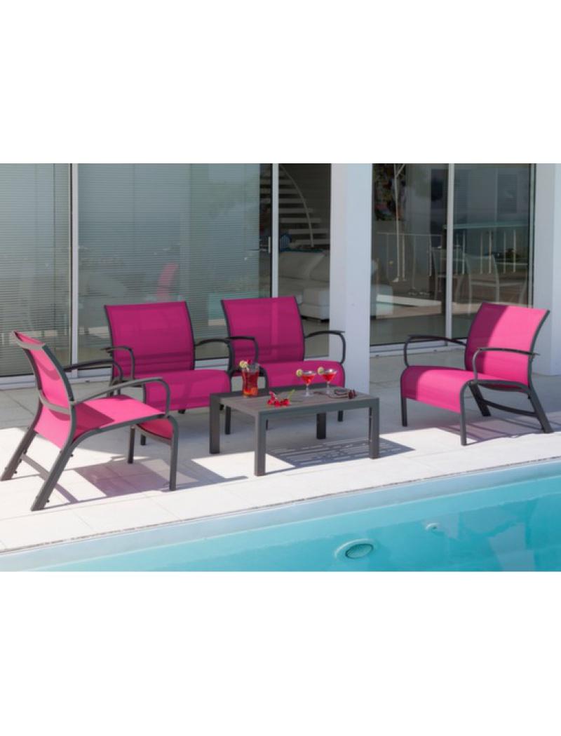 Salon de jardin Lounge Linea Gris Framboise Proloisirs - Salons de ...