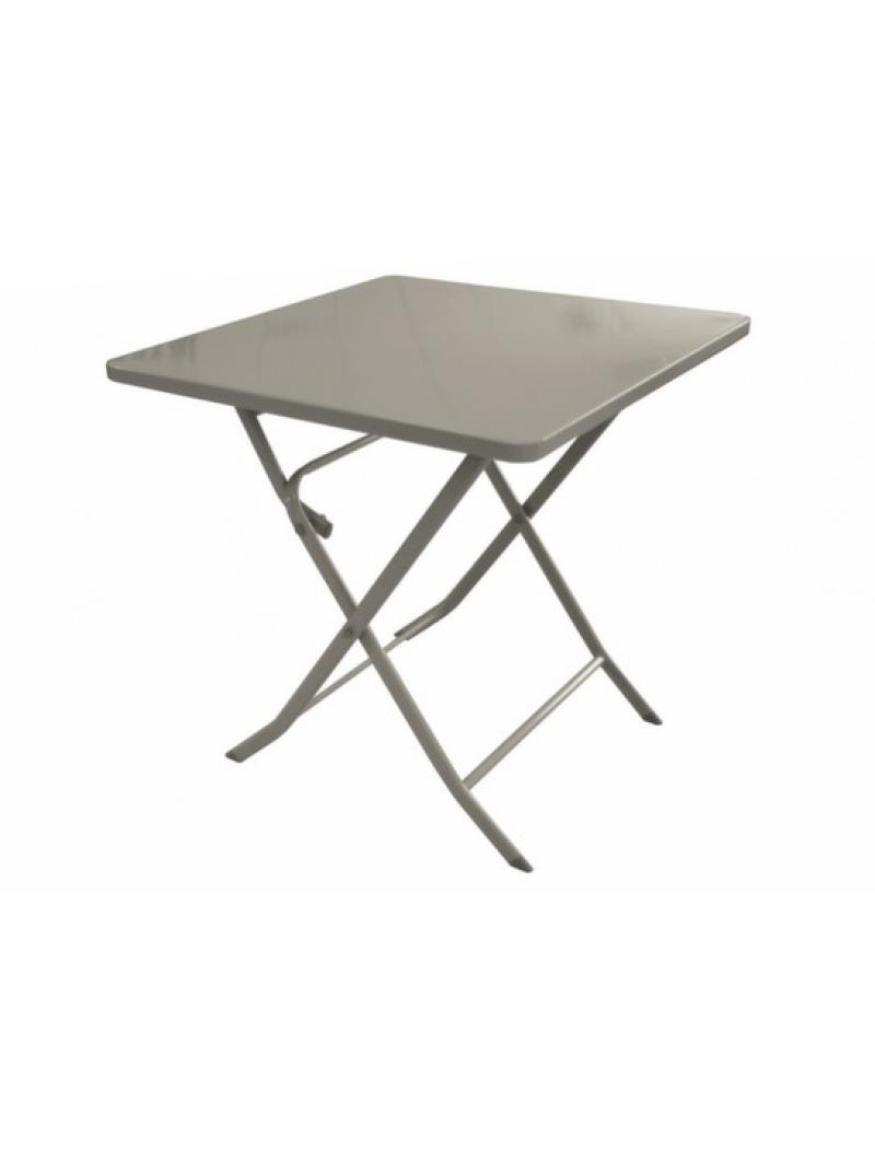 Table de jardin pliante carrée Nonza taupe Proloisirs - Tables de ...