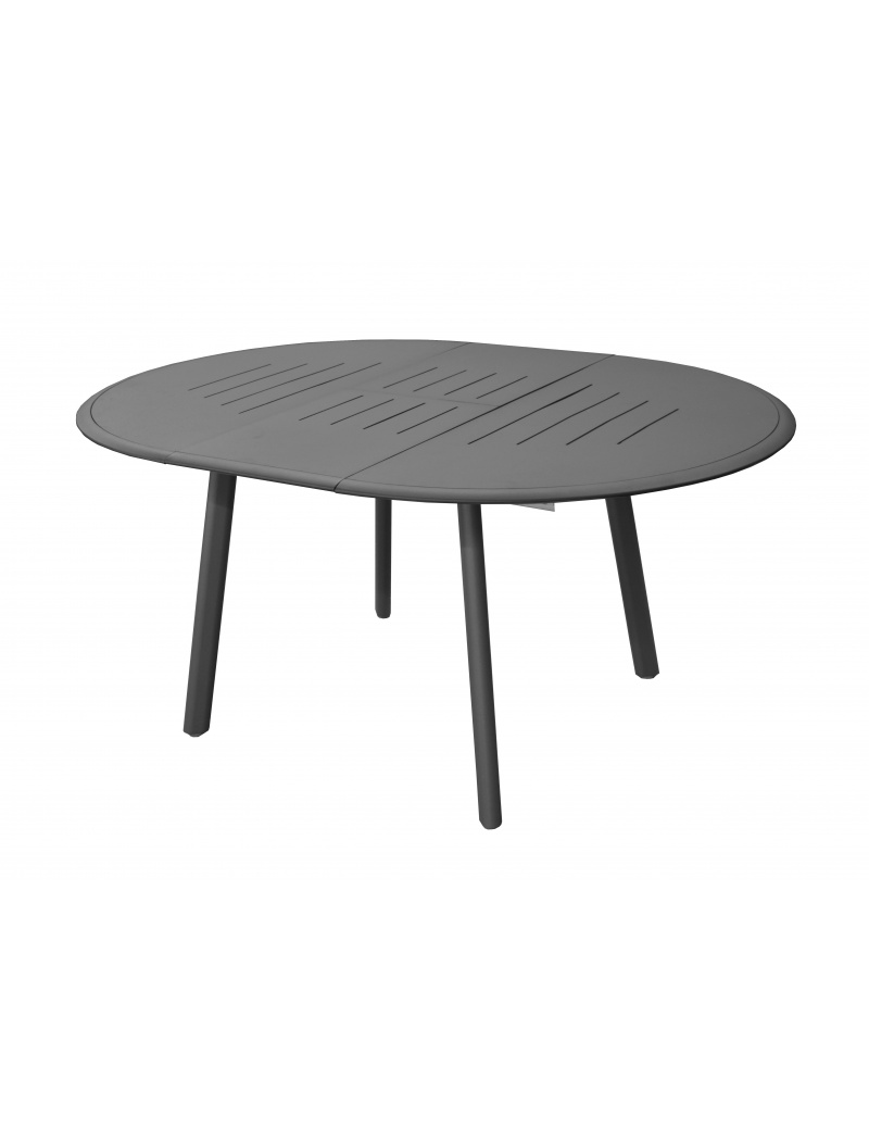table brasa ronde 150 200 grise avec allonge proloisirs tables de jardin en aluminium jardin. Black Bedroom Furniture Sets. Home Design Ideas