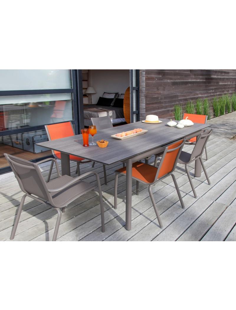 table miami hpl 220 taupe bois proloisirs tables de jardin en aluminium jardin concept. Black Bedroom Furniture Sets. Home Design Ideas