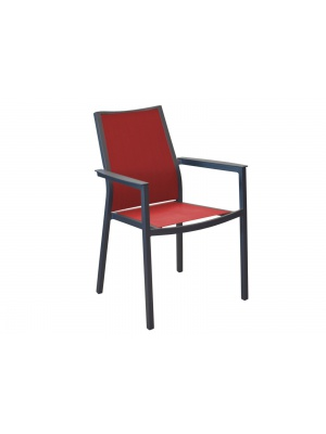 Fauteuil Ida Gris / Rouge empilable