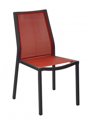 Chaise Ida Grise / Rouge empilable