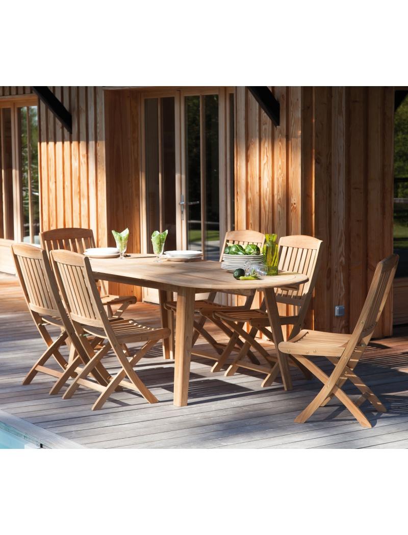 Salon de jardin Proloisirs Lola en teck table ovale et chaises Macon