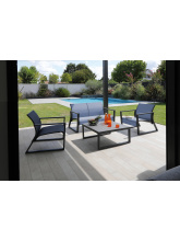 Fauteuil Lounge Quenza Graphite / bleu