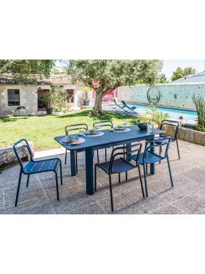 Table de jardin Eos 130/180 Bleu avec allonge
