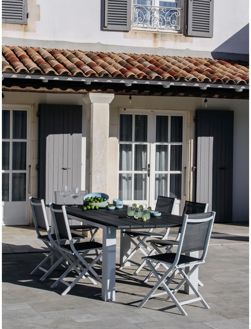 Table Elena Blanc Gris Avec Allonge Proloisirs Tables De  # Table De Jardin Proloisirs Elena