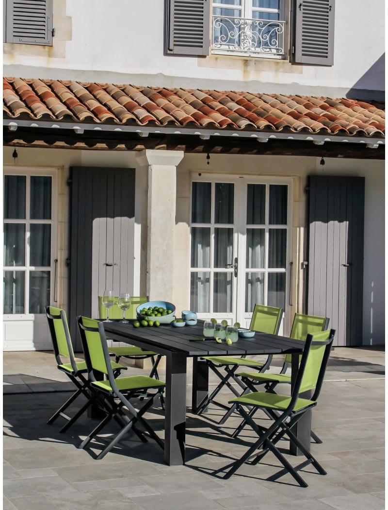 Table Elena 180 240 Gris Royal Avec Rallonge Proloisirs Tables  # Table De Jardin Proloisirs Elena