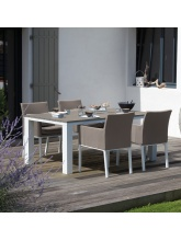 Table Elena 180 Blanc / Taupe