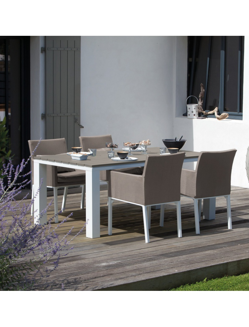 Table Elena 180 Blanc / Taupe Proloisirs - Tables de jardin en ...