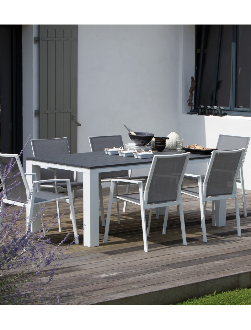 Table Elena 180 Blanc / Gris Proloisirs - Tables de jardin en ...