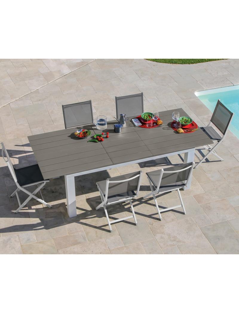 Table Elena Blanc Taupe Avec Allonge Proloisirs Tables De  # Table De Jardin Proloisirs Elena