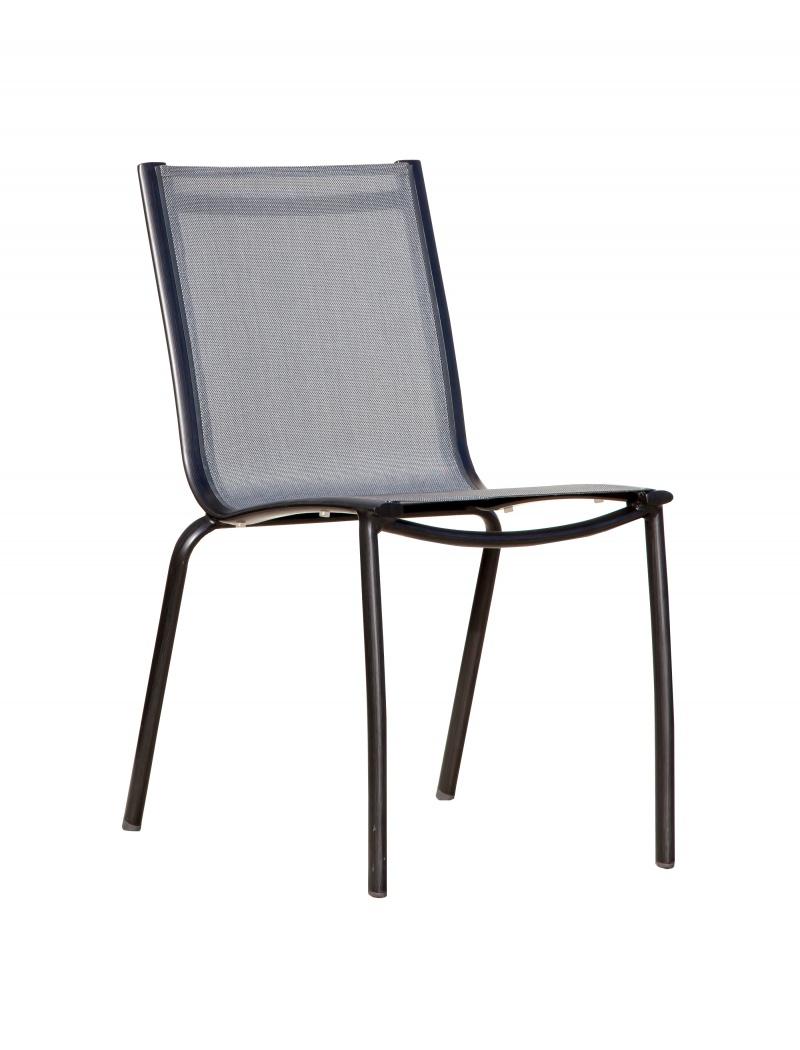 Chaise Linéa Noir / Argent Proloisirs - Chaises & fauteuils alu ...