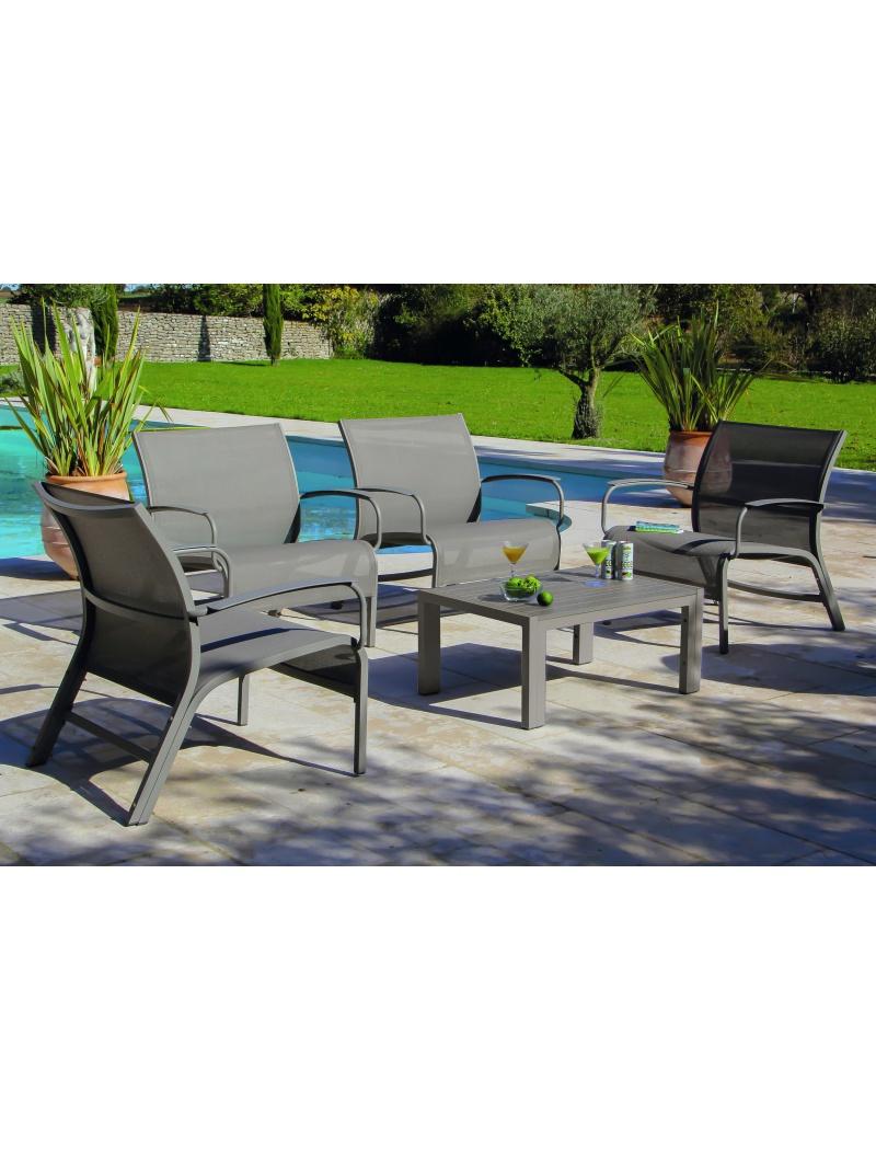 Salon de jardin Proloisirs Linea Lounge Taupe : mobilier outdoor ...