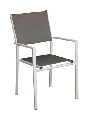 Fauteuil Thema Blanc Argent empilable