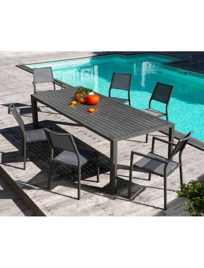 Table Milano 220 Gris Ice Proloisirs - Tables de jardin en aluminium ...