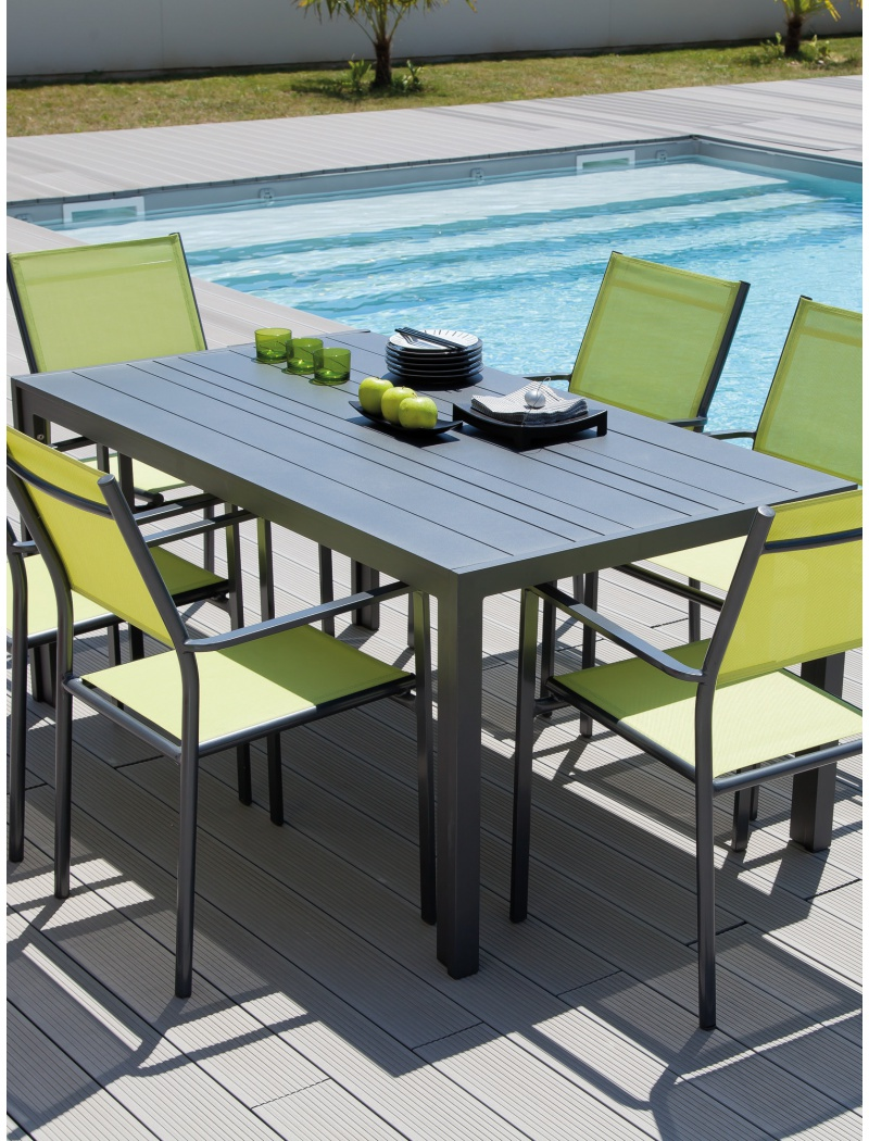 Table MT 160 Alu Gris royal Proloisirs - Tables de jardin en ...