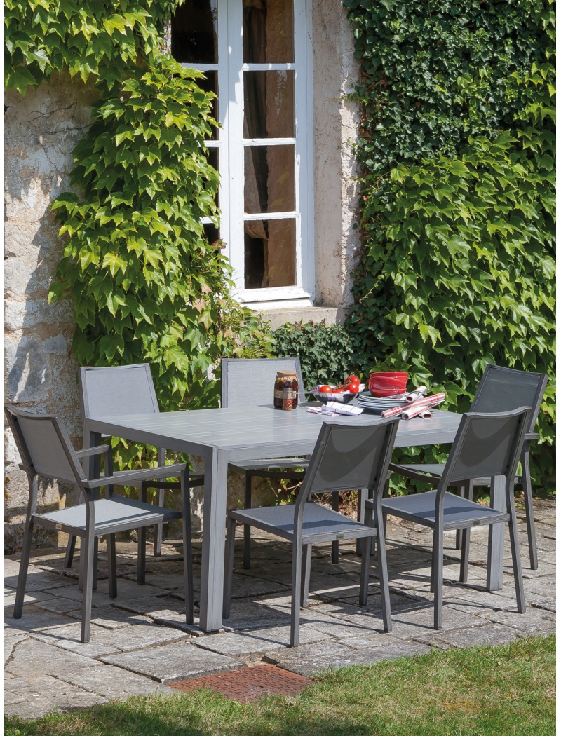 Table MT 160 Alu Gris Ice Proloisirs - Tables de jardin en aluminium ...