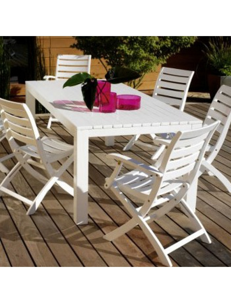table de jardin en eucalyptus proloisirs oc ane coloris blanc. Black Bedroom Furniture Sets. Home Design Ideas
