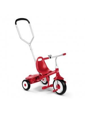 Tricycle à pédales avec canne et rangements
