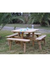 Table de jardin carrée en bois - 8 places