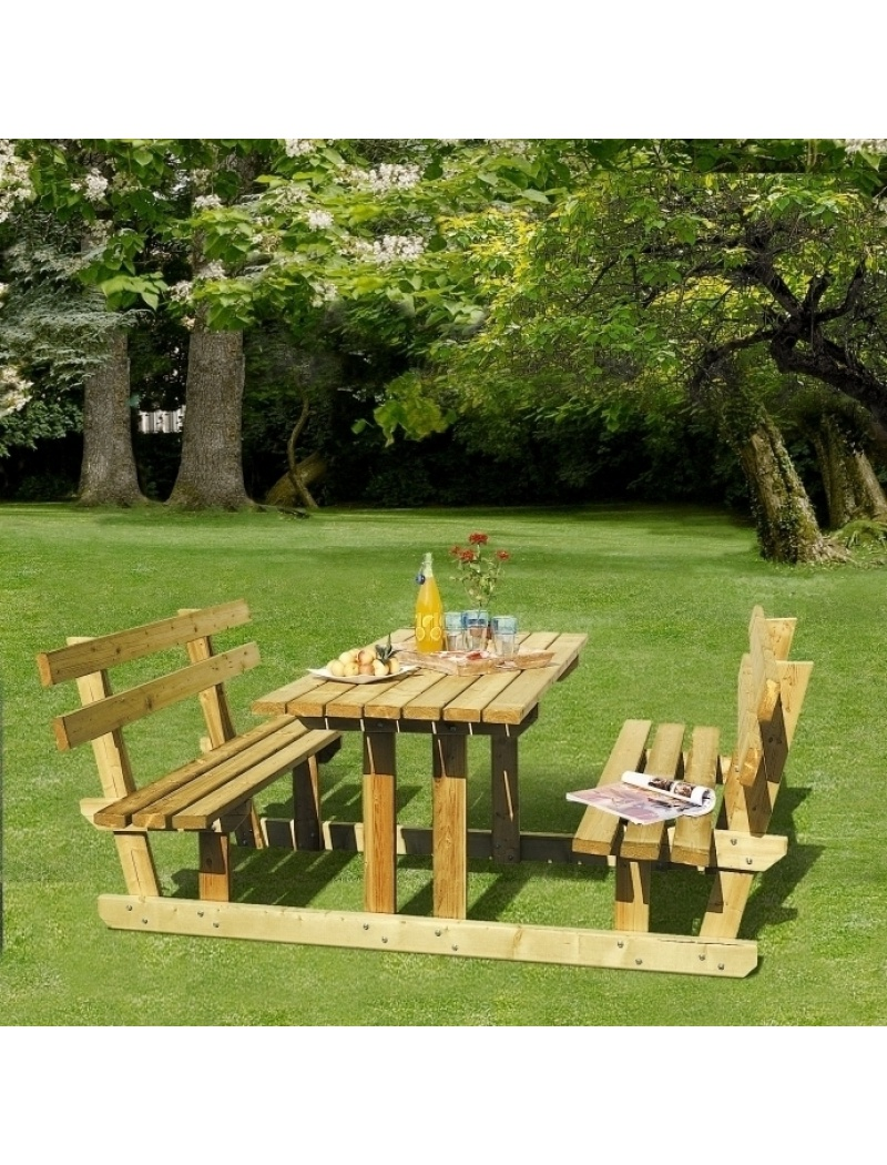 meubles jardin en bois ensemble pique nique d tente lunch en bois. Black Bedroom Furniture Sets. Home Design Ideas