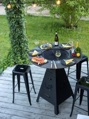 Table brasero-plancha MAGMA noir sablé