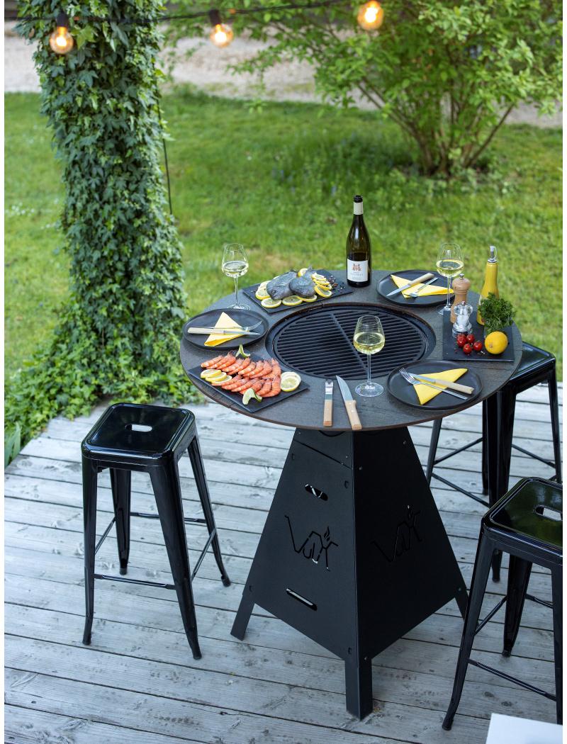 Table Brasero Plancha Magma Noir Sable Vulx Barbecues Charbon De
