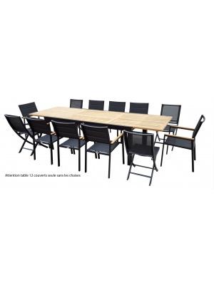 Table Bali Teck noire 8/12 places