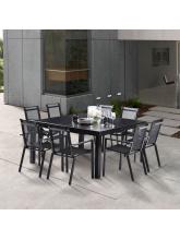 Salon de jardin Black Star Full Verre Noir 8 fauteuils