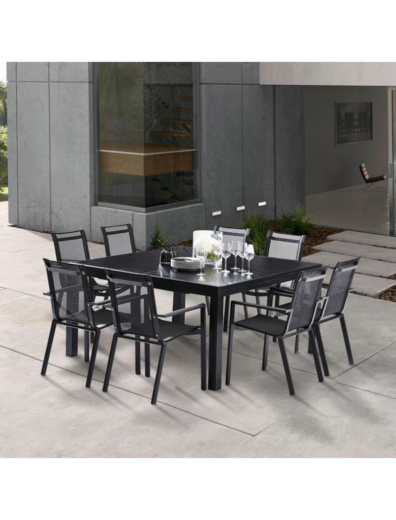 Salon de jardin Black Star Full Verre Noir 8 fauteuils Wilsa Garden ...