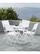 Table Terrasse blanche + 4 chaises