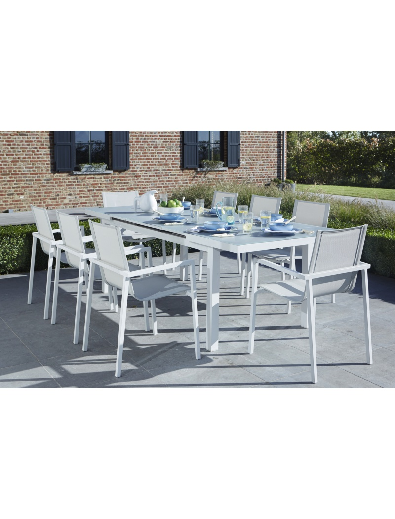 Salon de jardin whitestar 8 blanc wilsa salon de jardin for Salon complet blanc
