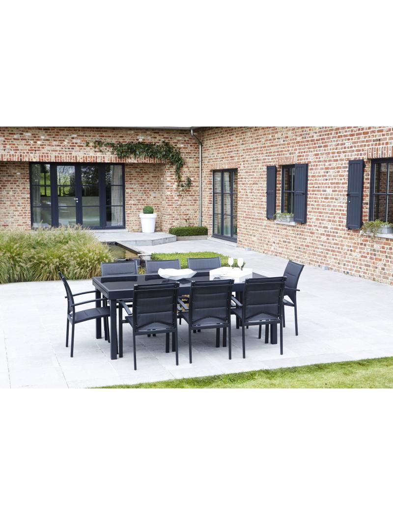 salon de jardin modulo 8 noir noir wilsa salon de. Black Bedroom Furniture Sets. Home Design Ideas