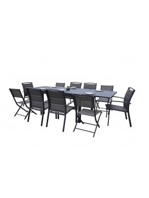 Salon de jardin Modulo Alu 6+4 chaises Gris Anthracite