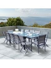 Salon de jardin Modulo 8+4 chaises gris / gris