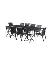 Salon de jardin Modulo 6+4 chaises noir / noir