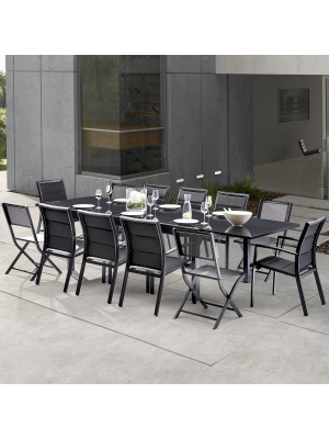 Salon de jardin Modulo 8+4 chaises noir / noir