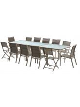 Salon de jardin Modulo 8+4 chaises Taupe