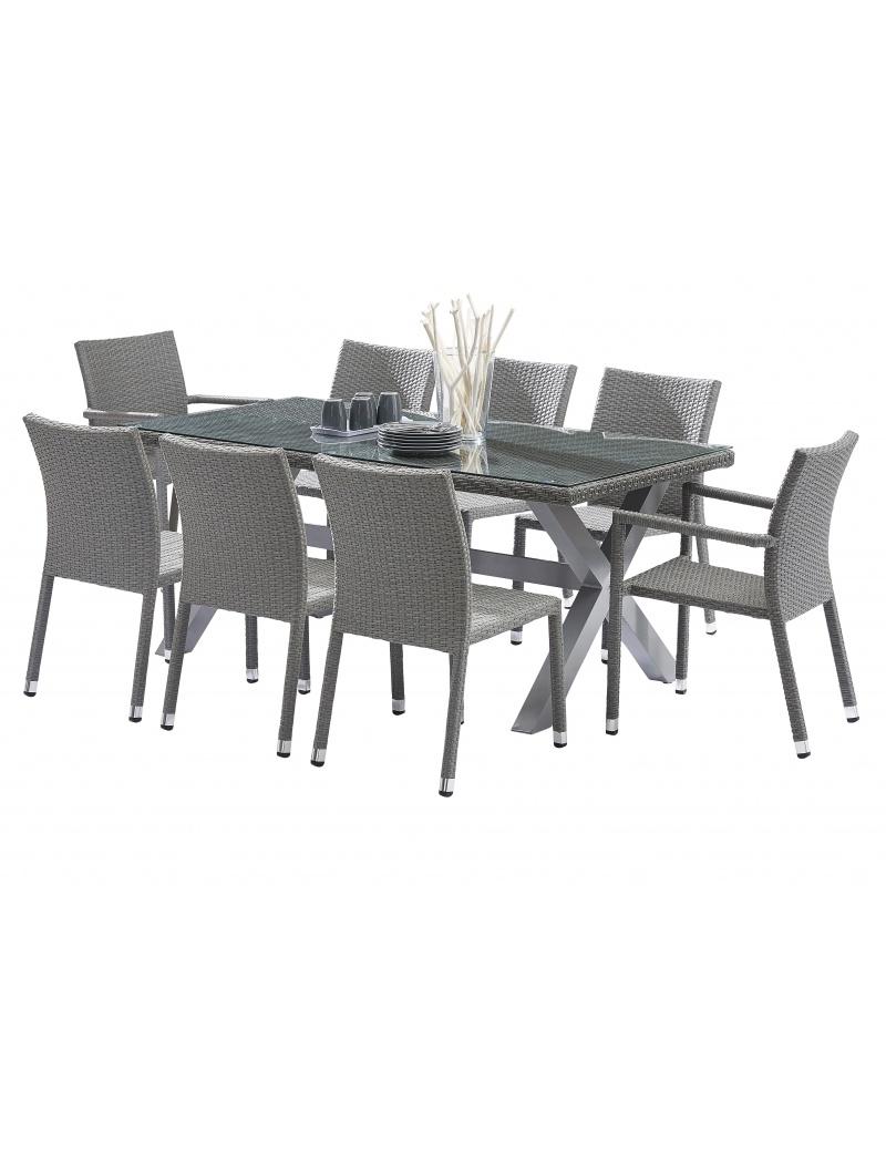 Salon de jardin Wilsa composé d\'une table, chaises et fauteuils en ...