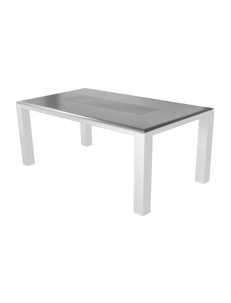 table gela 180 blanc gris proloisirs tables de jardin en aluminium jardin concept. Black Bedroom Furniture Sets. Home Design Ideas