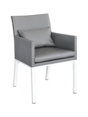 Fauteuil Oslo textilène Blanc Argent